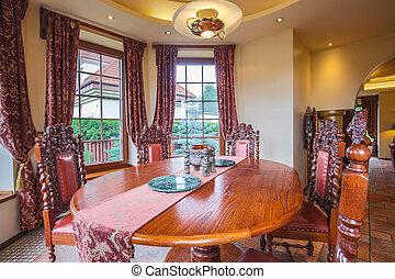 anticaglia, legno, sedie, tavola