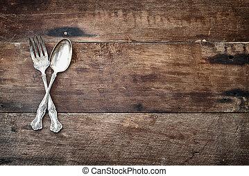 anticaglia, legno, sopra, argenteria, fondo