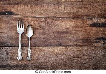anticaglia, legno, sopra, argenteria, rustico, fondo
