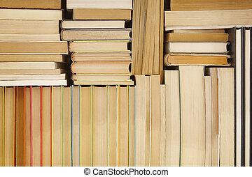 anticaglia, libri, accatastato, su, uno, magazzino, cremagliera., leggere, fondo