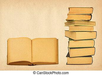 anticaglia, libri, su, grunge, fondo