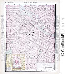 anticaglia, mappa urbana, mn, minnesota, minneapolis, strada