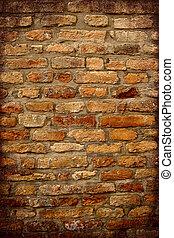 anticaglia, muro di mattoni, con, scuro, cornice