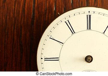 anticaglia, no, orologio, dettaglio, faccia, rotto, mani, timeless: