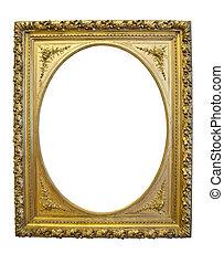 anticaglia, oro, cornice, isolato, fondo, ovale, bianco