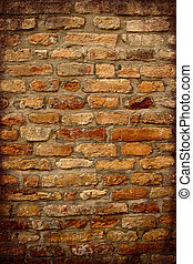 anticaglia, parete, cornice, scuro, mattone