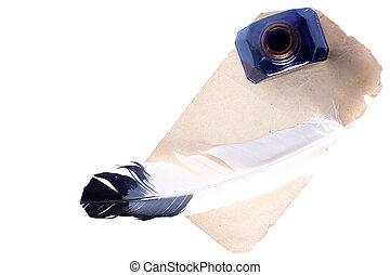 anticaglia, penna, inkwell, a, vecchio, carta, isolato, bianco