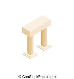 anticaglia, portale, con, colonne, icona