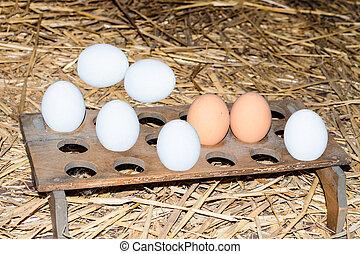 anticaglia, scatola uovo, fatto, di, legno