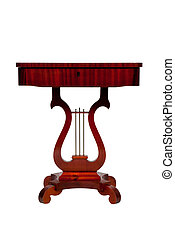 anticaglia, scrivania legno, isolato, bianco, fondo