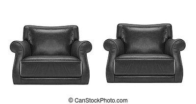 anticaglia, sedia cuoio, nero