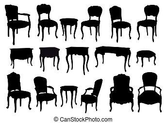 anticaglia, sedie, e, tavoli, vettore