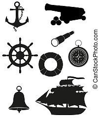 anticaglia, set, mare, icone