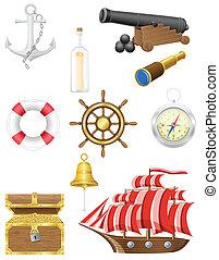 anticaglia, set, mare, vettore, icone