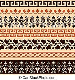 anticaglia, set, modello, -, seamless, greco, grecia antica, profili di fodera