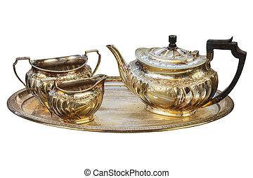 anticaglia, set, tè, isolato, bianco, argento