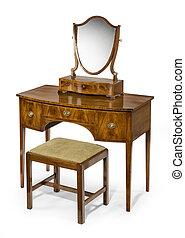 anticaglia,  set, vendemmia, abbigliamento, sgabello, specchio, tavola