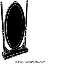 anticaglia, specchio, commode