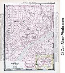 anticaglia, strada città, stati uniti, mappa, st. paul, minnesota