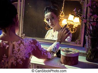 anticaglia, toccante, carino, specchio, ritratto, countess