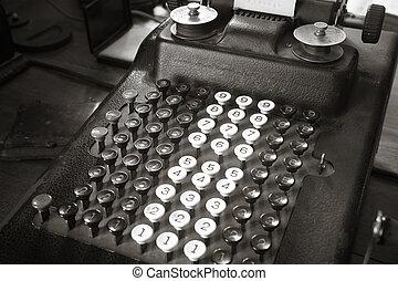 anticaglia, tono, calcolatore, sepia, originale, macchina scrivere