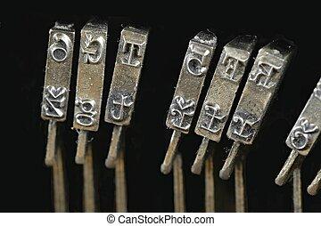 anticaglia, tradizionale, letterpress, vendemmia, arms., fondo., arrugginito, vecchio, macchina scrivere
