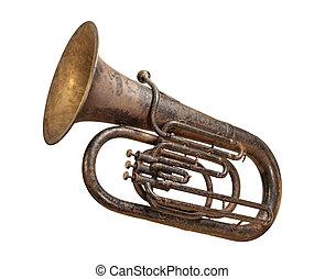 anticaglia, tuba, isolato, con, uno, percorso tagliente