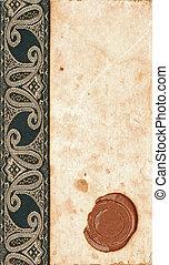 anticaglia, vecchio, cera, carta, fondo, sigillo, nastro