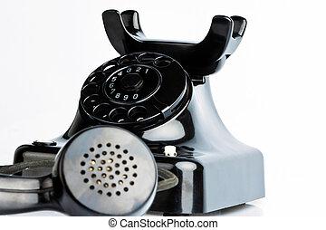 anticaglia, vecchio, telefono., retro