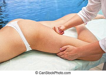 anticellulite, femme, masage