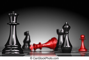 Anticipation and Strategy - Close up of a chessboard with...