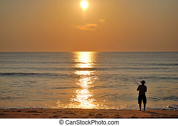Fishing on the shores of North Carolina.