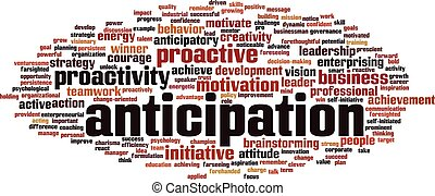 Anticipation word cloud concept. Vector illustration