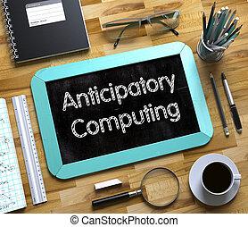 anticipatory, computando, conceito, ligado, pequeno, chalkboard., 3d.