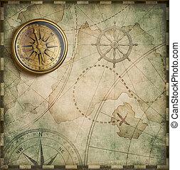 antické umění mapovat, dávný, poklad, lodní, dosah, drzost, letitý