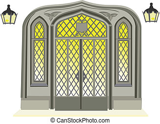 antický, dveře