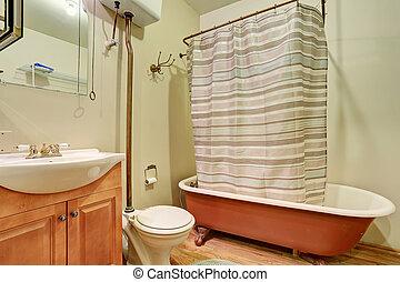 antický, hněď, koupelna podlaha, hardwood, koupel, vnitřní, bečka