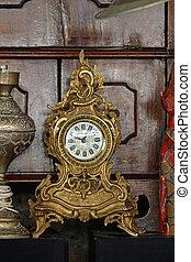 antický, hodiny, zlatý