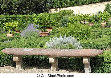 antický, kamenovat lavice, do, dějinný, italský, zahrada