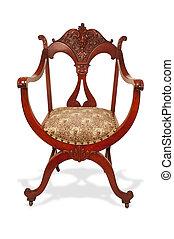 antický, mahagon, chair.