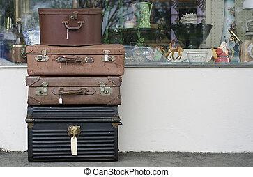 antický, mimo, dávný, sklad, kufříky