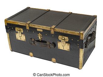 antický, parník, kufr, osamocený