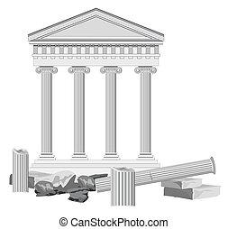 antický, troska, chrám