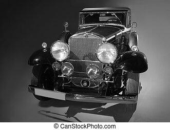 antico, americano, automobile, monocromatico