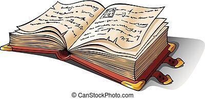 antico, aperto, libro