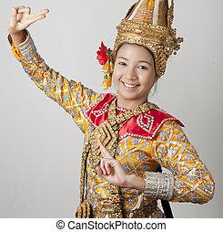 antico, ballo, giovane, ritratto, tailandia, tailandese, signora