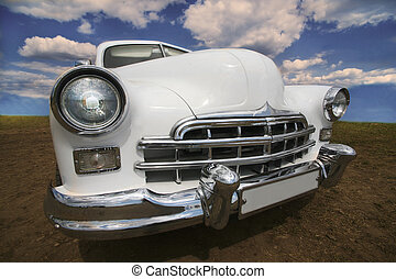 antico, bianco, automobile