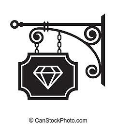 antico, cartello, strada, gioielliere