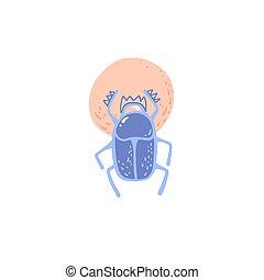 antico, dio egiziano, simbolo, scarabeo, sole, icona