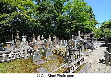 antico, giapponese, cimitero
